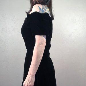 Vintage Dresses - Vintage 1980s Black Velvet Dress Off the Shoulder